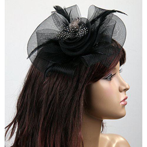 FS Hot Black Flower Feather Organza Mesh Hair Clip Fascinator Wedding(China (Mainland))