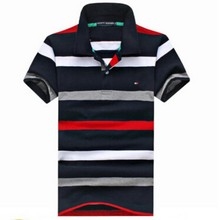 2015 embroidery cotton pinstripe loose big yards American leisure fashion men's short sleeve POTDLO shirt