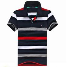 2015 embroidery cotton pinstripe loose big yards American leisure fashion men's short sleeve POTDLO shirt