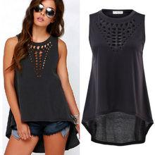 Black Color Summer Sexy Women Retro Hollow Tank Tops Vest Top Sleeveless Casual Loose Shirt 19(China (Mainland))