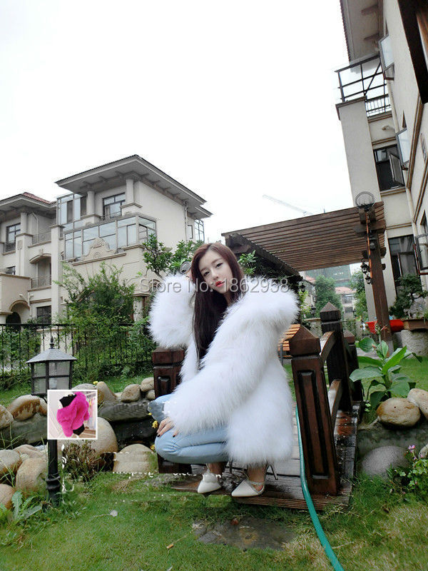 SJ117-02 White Racoon Knitting Fur Overcoats 100% Real Fur Jackets with Hood OEM~Customized Sizes~(China (Mainland))