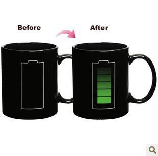 Free shipping Battery Color Changing Mug Cup Amazing Ceramic Cup Temperature Changing(China (Mainland))