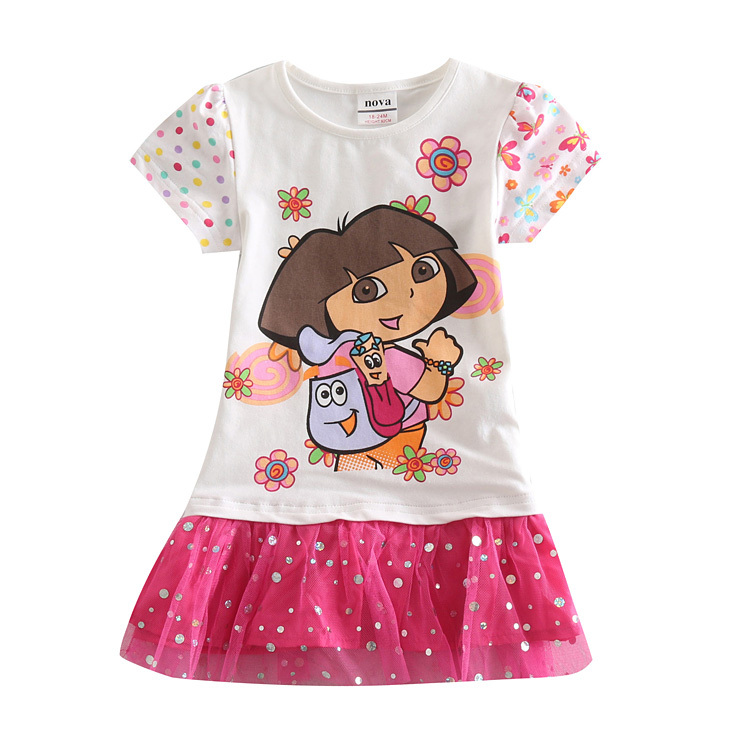 Kids girls dresses summer 2015 princess girls costume ropa ninas 2015 girls dora lace dress for party and wedding(China (Mainland))