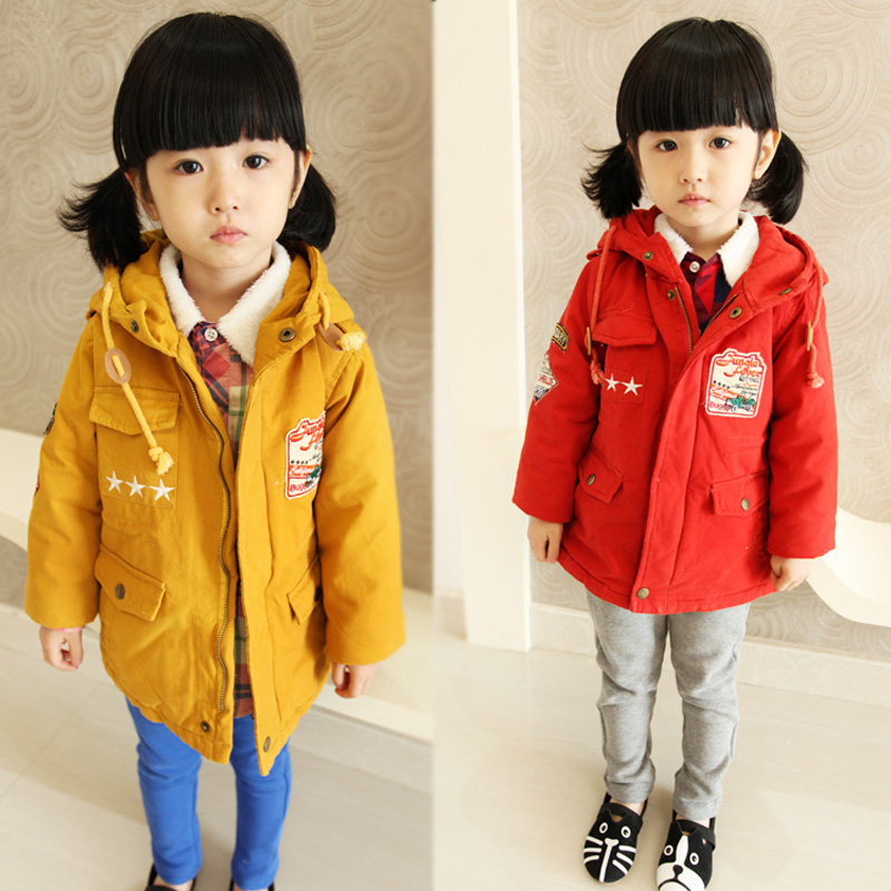 Children's clothing female child autumn and winter thickening 2013 child clip cotton trench outerwear 68312(China (Mainland))