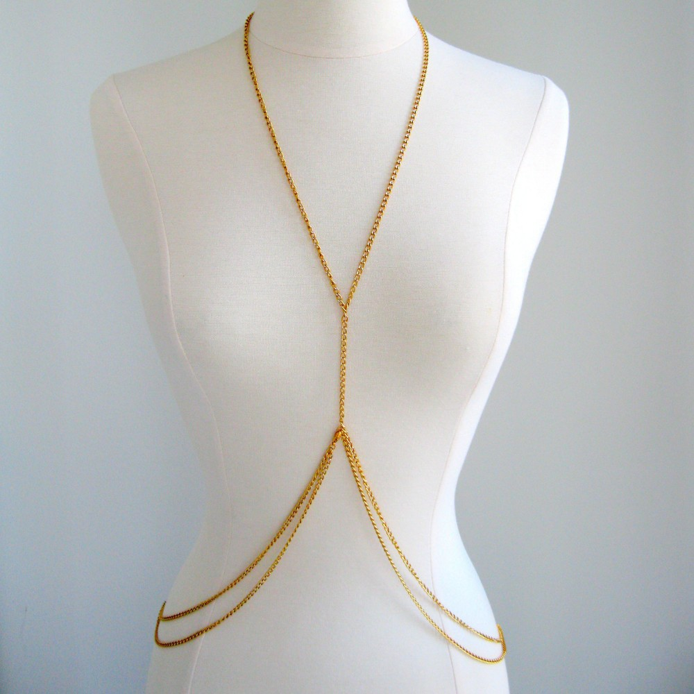 Amazing Double Loop Gold Body Chain Body Jewellery,Sexy Body Chain Costume Jewelry,Fashion Silver Body Jewelry Chains Necklaces(China (Mainland))