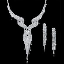 New Wedding Jewellery Set Austrian Crystal Bridal Jewelry Sets For Women Long Tassel Statement Necklace/Earrings Set SET150011(China (Mainland))
