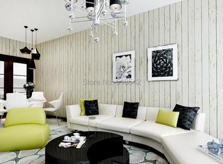 Großhandels-Blau Weiß Holzplatte Vliestapete Rollen Wohnzimmer Schlafzimmer  Natürliche Rustikale Schrott Holzbrett Wandverkleidung Design Vintage