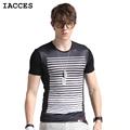 Fashion Brand Clothing T Shirt Men Luxury Ice Silk T shirt Stripes Designer Print Slim Tee