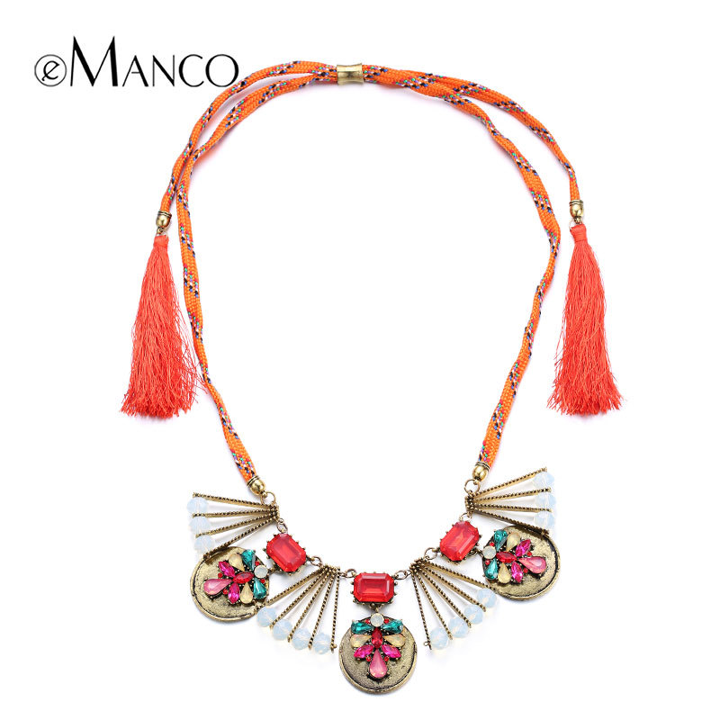 //Orange necklace rope chain geometric pendant//gold plated zinc alloy jewelry chunky metal necklaces tassel jewelry 2015 eManco(China (Mainland))