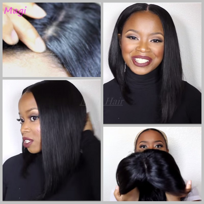 Grade 7A straight Virgin Hair Wigs 100 human hair lace front wigs black color brazilian lace front wigs<br>