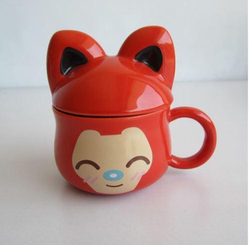 Cute cartoon mug animal pretty face animal ceramic cup for Animal face mugs