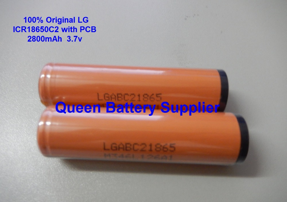 Free shipping 10pcs/lot LG 2800MAH  ICR18650C2 3.7V battery button top protected for icr18650C2 with PCB<br><br>Aliexpress