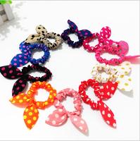 10X Rabbit Ears Polka Dots Elastic Hair Bands Rubber Accessories Hairpins acessorios Headband Fast Bun Gum for Hair