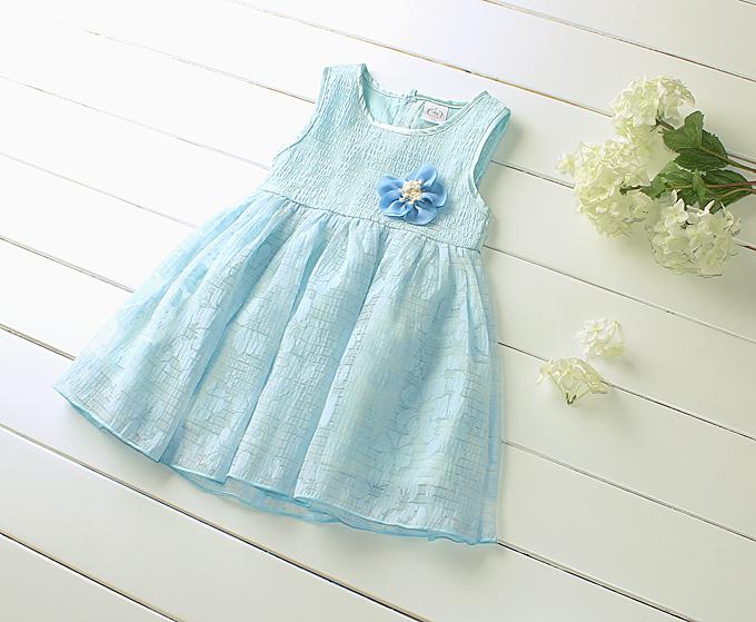 2015 New Girls Sleeveless Dress Three-dimensional Flower Print Dress Wholesale Robe La Reine Des Neige Enfant 4pcs/lot <br><br>Aliexpress