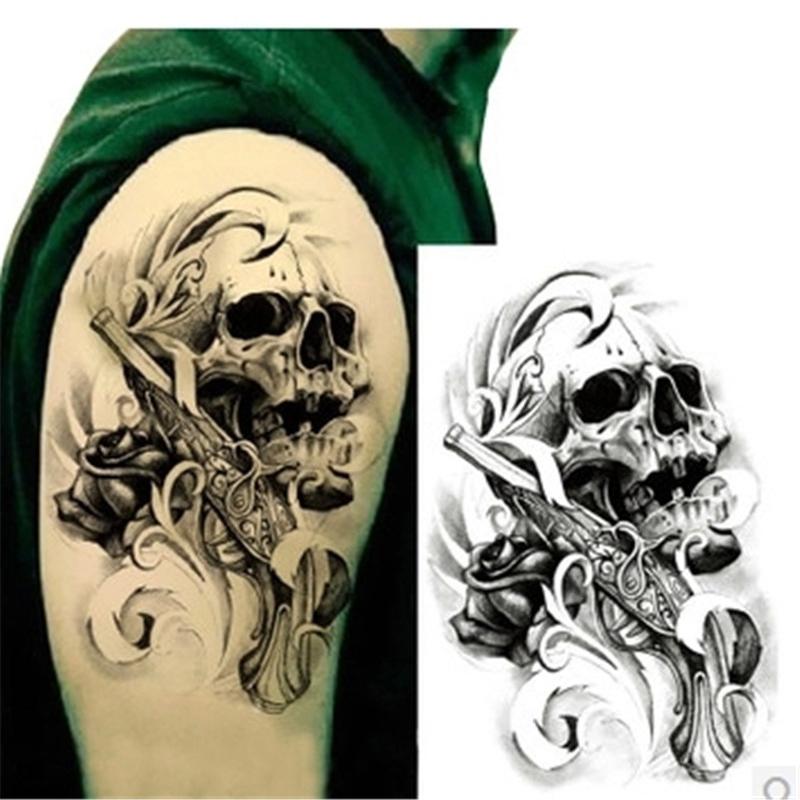 Gun & Skull Waterproof Body Art Arm Tattoo Sticker Handsome Glitter Temporary Tattoos For Man Waterproof Body Tattoo Stickers(China (Mainland))