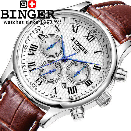 Genuine Swiss BINGER Luxury Brand Men leather strap full steel automatic mechanical Self Wind Sapphire business watch waterproof(China (Mainland))