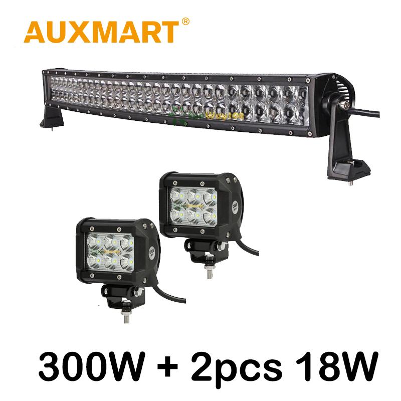 "Auxmart 32"" 300W LED Light Bar CREE Chips Curved LED Bar +2x 18w 4 inch LED Work Light Fit Pickup Truck SUV 4X4 4WD ATV 12V 24V(China (Mainland))"