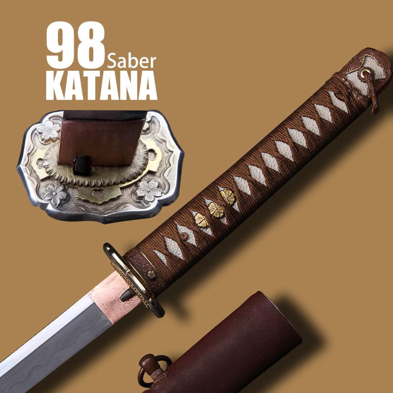 High Quality Japanese Samurai 98 Type Saber Military Samurai Sword Katana Carbon Steel Damascus Steel Knife Military Sabers(China (Mainland))