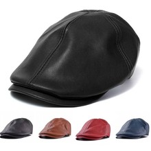 Hot Sole Cool Leisure High Quality Leather Men Cap Bonnet Beret Style Cabbie Gatsby Flat Golf Superior Simple Retro Outdoor Hat (China (Mainland))