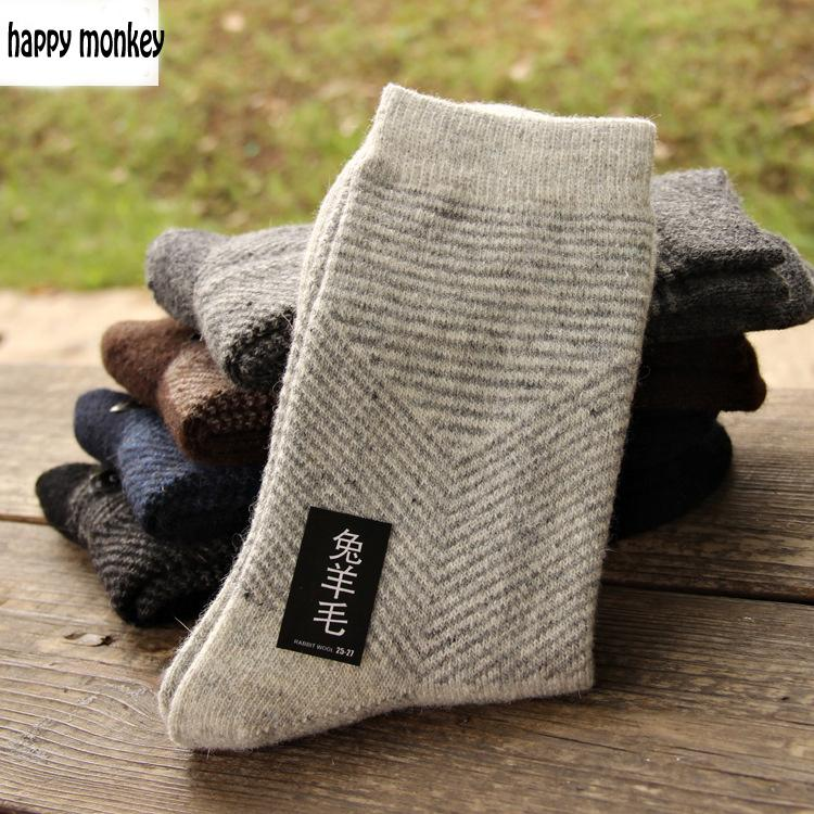 10 pieces of 5pairs 2016 NEW winter warm socks man The rabbit wool socks Men socks to Arrow pure color the extended wool socks(China (Mainland))
