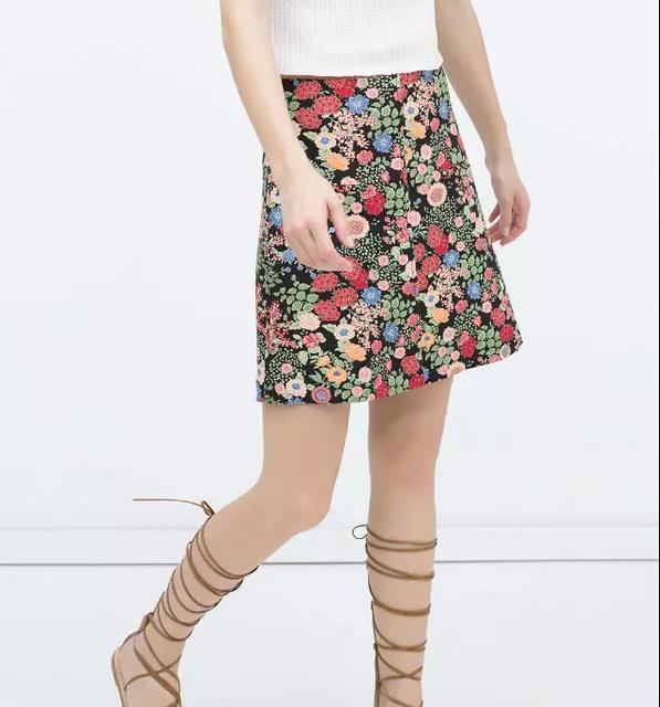 BSQ335 женская урожай цветочные A-Line мини-юбки дамы офис повседневная Юбки модной ...