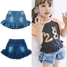 Fashion Falbala Denim Girls Shorts jeans Kids Children shorts  for girl Child Summer Free Shipping(China (Mainland))