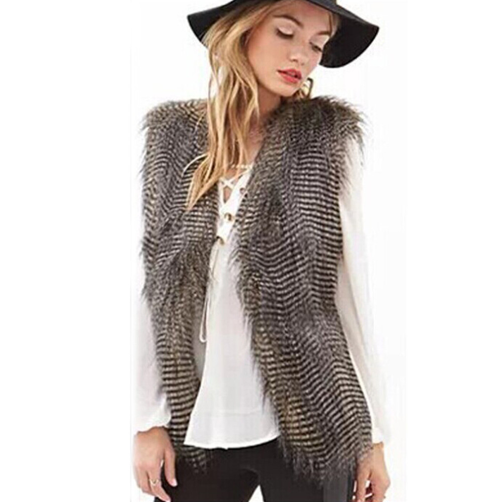 Sanwony New Lady Fake Fur Vest Short Women Sleeveless Coat Faux Fur Jacket Slim Fur Gilet Long Hair Waistcoat Freeshipping(China (Mainland))