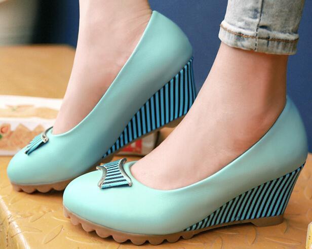 ENMAYER NEW women pumps Fashion casual fashion wedges Platform pumps shoes women Round Toe Spring/Autumn shoes pumps