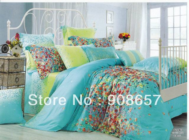 500TC flowe print green turquoise print discount cotton bed linen cheap bedding set duvet covers for full/queen comforter quilt