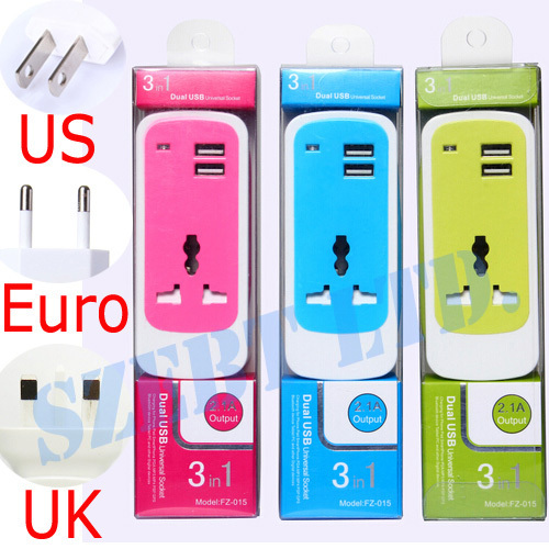 1X UK British Plug Beautiful Portable Powerful 3in1 USB Socket Wall Charger Travel Adapter 2.1A For iPad iPhone 6