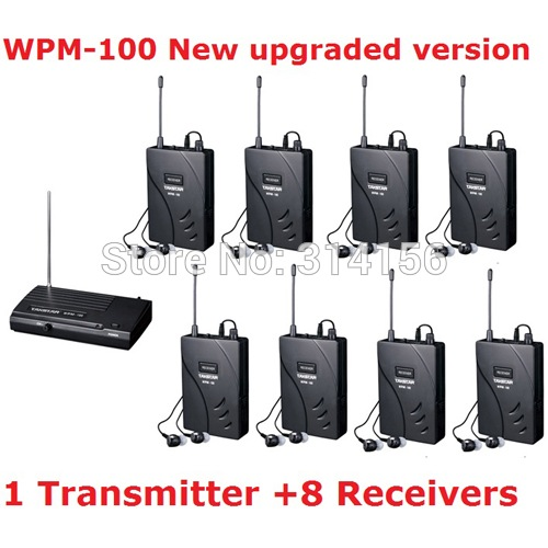 New version Takstar wpm-100/ wpm 100 UHF Stage Wireless Monitor System In-Ear earphone Wireless Stereo 1 Transmitter+8 Receivers(China (Mainland))