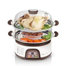 Free shipping Double deck stainless steel electric steaming plate set timer Electric Food Steamers Electric steamer(China (Mainland))