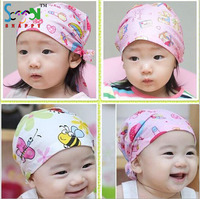 Fashion Lovely Baby Baby Beanie Hat Cap Floral Printing Cotton Headband Children Girl and Boy Bandanas Headscarf Band Kids