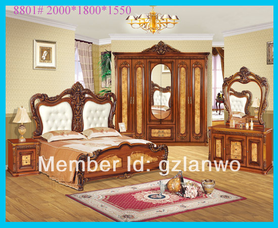 High Quality Luxury Bedroom Furniture Antique Wood Bed