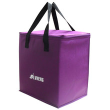 purple light non woven cooling handbag easy taking food thermal bag 9L cheap fresh ice bag