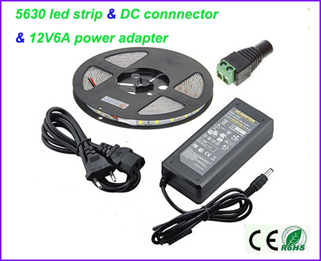 Waterproof  5M/roll  SMD 5630 super bright led strip 60led/M DC12V &amp;12V6A power supply &amp; a DC connector with CE.RoHS<br><br>Aliexpress