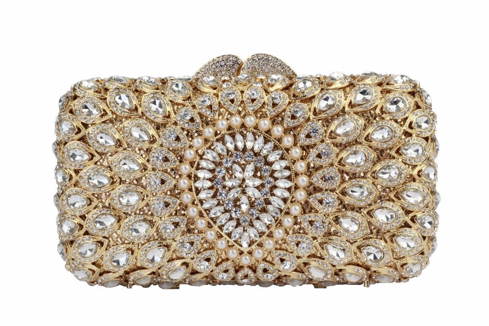 Vintage Glass Cross Body Evening Bags Ladies Rhinestone Vintage Bags Hollow Design Clutch Luxury Crystal Clutches  YLS-G78