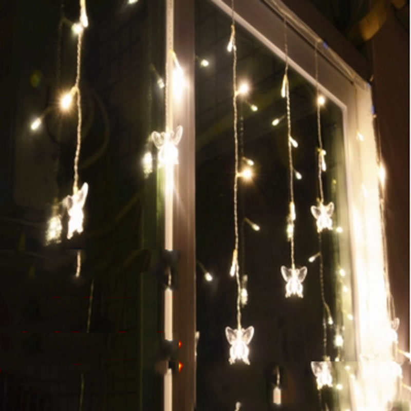 Butterfly 96LED 3.5M curtain string lights 220V Christmas Garden lamps New year Icicle Lights Wedding Party free shipping(China (Mainland))