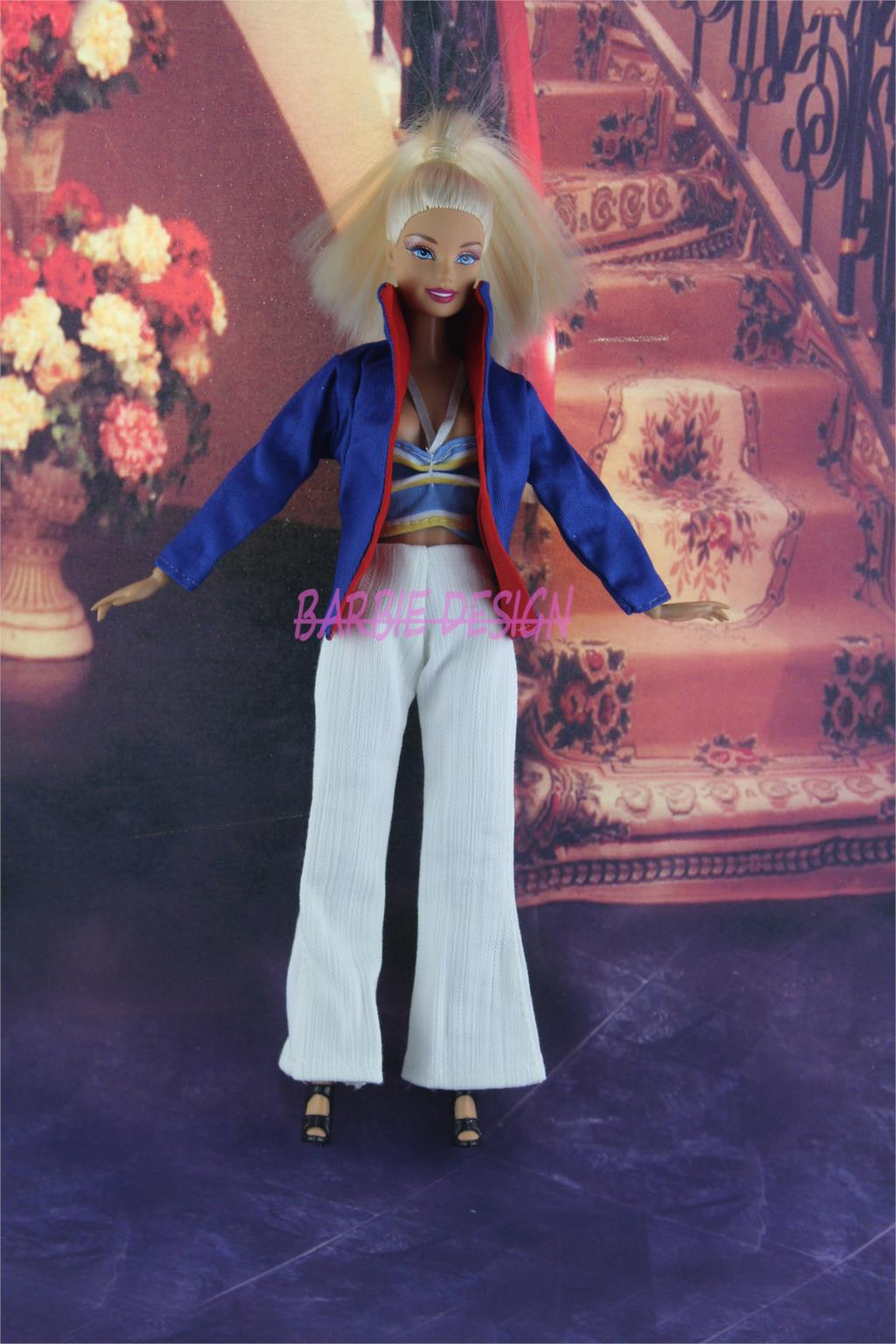 3in1 Fashion Lady Outfit Suit Jacket + Tops With Riband + White Trousers Clothes Blouse Pants For Barbie Doll 11.5″ 12″ Puppet