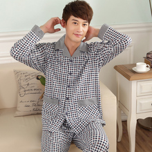 Autumn and winter male sleepwear cardigan full 100% long-sleeve cotton thickening paragraph of plus size plaid casual lounge set(China (Mainland))
