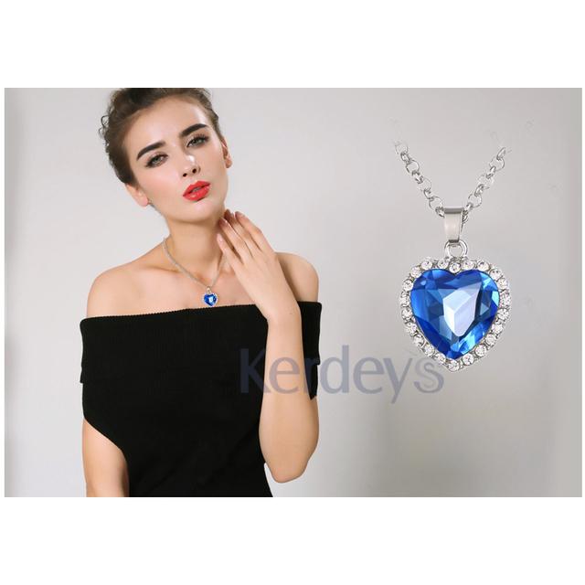 Sapphire Jewelry Heart Ocean Necklace
