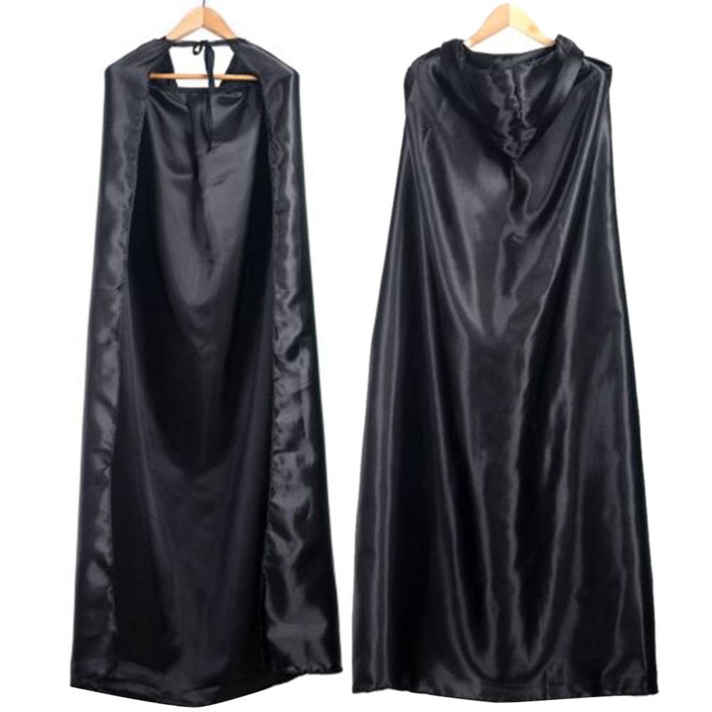 Black Halloween Costume Theater Prop Death Hoody Cloak Devil Long Tippet Cape Wholesale