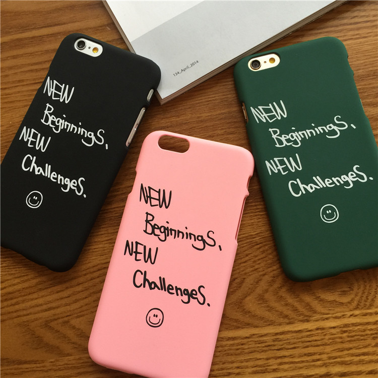 New challenges letter Design Case for iPhone 6 6S Plus 4.7 5.5 hard cover Plastic matte coque Green Black pink begin women girl(China (Mainland))