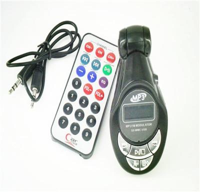 Auto LCD car mp3 player wireless FM transmitter Modulator Remote USB SD Earphone Slot black color(China (Mainland))
