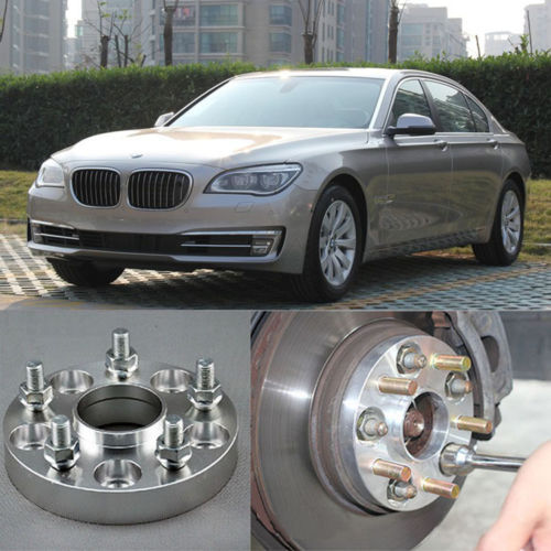Фотография 4pcs New Billet 5 Lug 14*1.5 Studs Wheel Spacers Adapters For BMW 7 Series