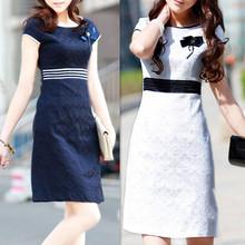 Summer women dress 2016 new spring and summer dress professional slim hip casual dress elegant short-sleeve step one-piece dress(China (Mainland))