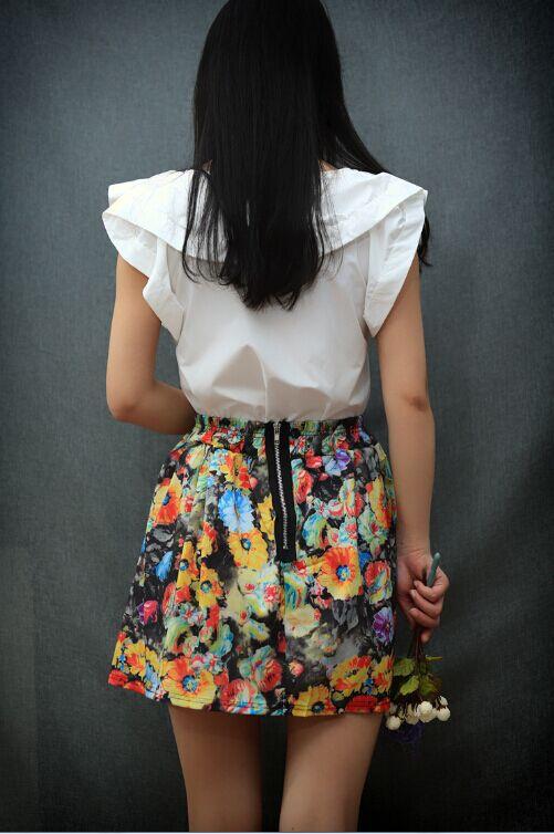 aliexpresscom acheter summer style summer femmes jupes mode american apparel color froral imprimer femmes dessus kneee mini jupe courte femmes de - Jupe Colore