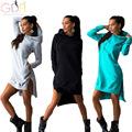 GDA 2016 Spring Autumn Women Irregular Solid Color Sweatshirt Long Sleeve Thick Warm Pocket Design Hooded