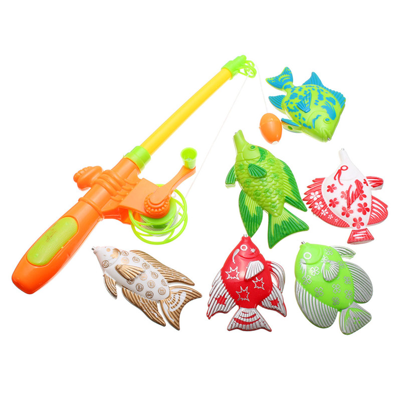 Magnetic Fishing Toy With 6 fish And a Fishing Rods Outdoor Fun & Sports Fish Toy Gift for Baby/Kids(China (Mainland))