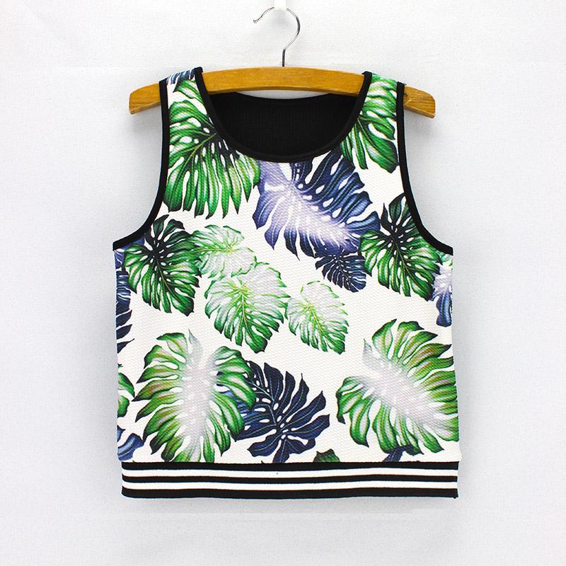 3D green leaves pattern women designer crop tank tops American & European fashion style summer dresses girls vogue cropped tanks(China (Mainland))